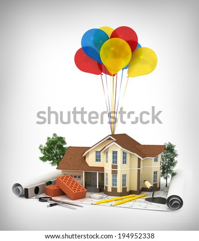 construction plan with house, wood and pencil, 3d - stock photo