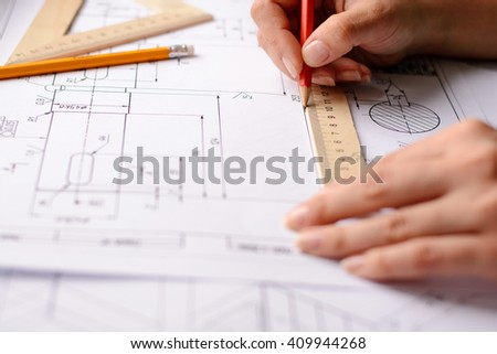 Construction planning drawings on the table