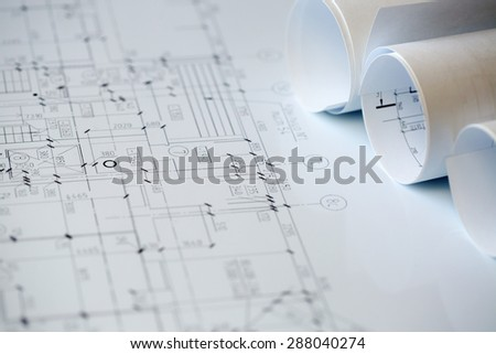 Construction plans - stock photo