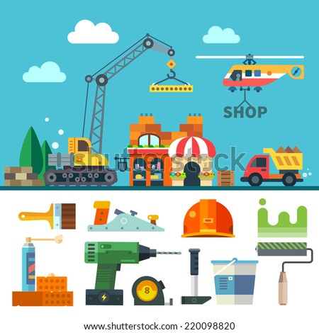 Construction. Process, tools, and materials. Flat illustration: building a house, crane, truck, helicopter, bricks, stone, sand, paint, brush, roller, drill, helmet, hammer, plane - stock photo