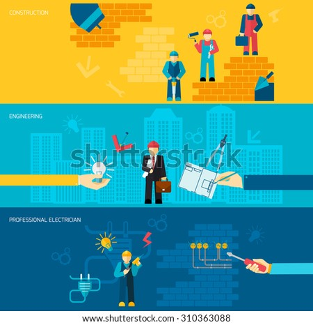 Construction professions banners flat set with engineering and professional electrician isolated  illustration - stock photo