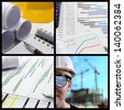 Construction project management collage - stock photo
