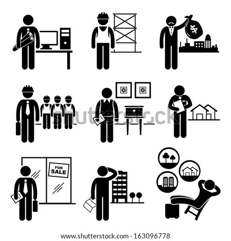 Construction Real Estates Jobs Occupations Careers - Architect, Contractor, Investor, Manager, Interior Designer, Property Valuer, Salesman, Buyer, Investor - Stick Figure Pictogram - stock photo