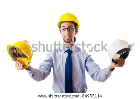 Construction safety concept with builder - stock photo