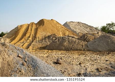 Construction sand pile - stock photo