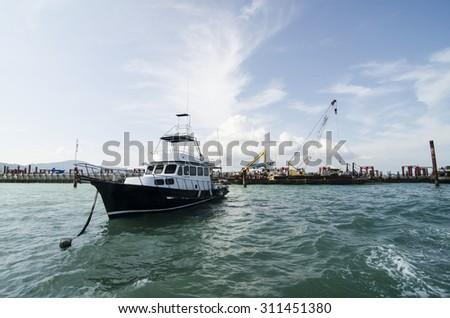 construction sea - stock photo