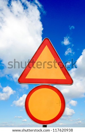Construction sign over the sky - stock photo