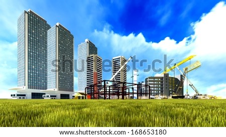 Construction site - abstract colorful illustration - stock photo