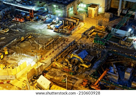 Construction site Aerial Shot at night - stock photo
