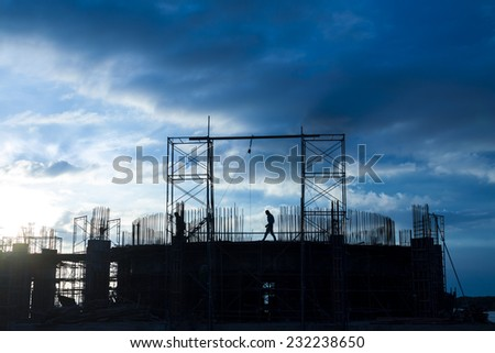 construction site at blue sky background