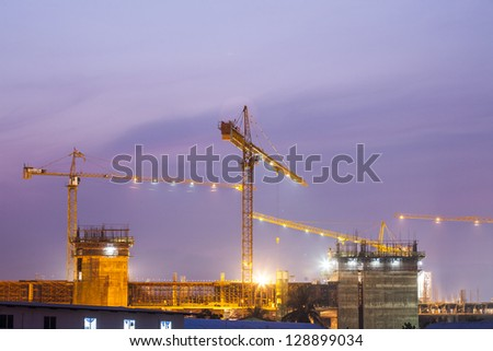 Construction site building on twilight time - stock photo