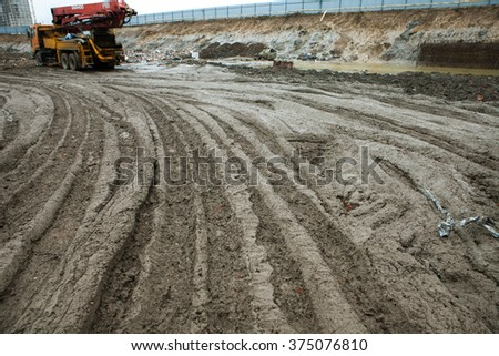 Construction site. Concrete dirt