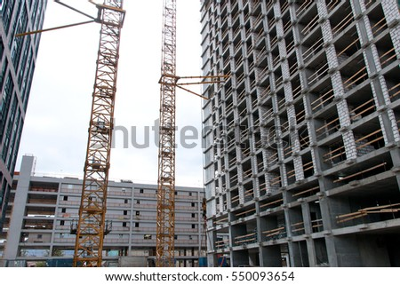 construction site crane and steel reinforcement