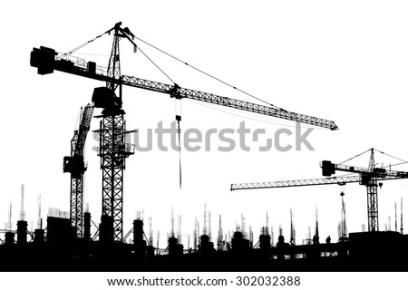 Construction site crane isolated on white