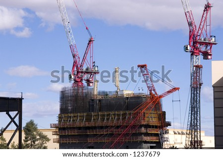 Construction site Cranes in the strip in Las Vegas - stock photo
