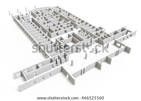Construction site 3d blueprint isolated on white background