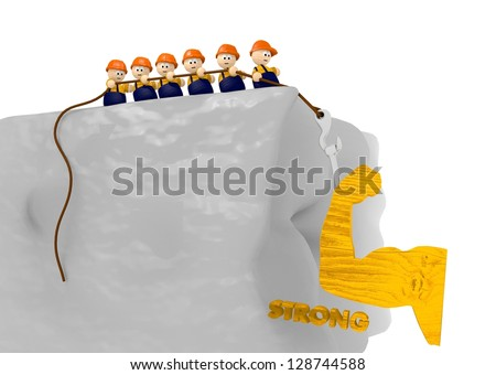 construction site 3d illustration with strong pictogram - stock photo