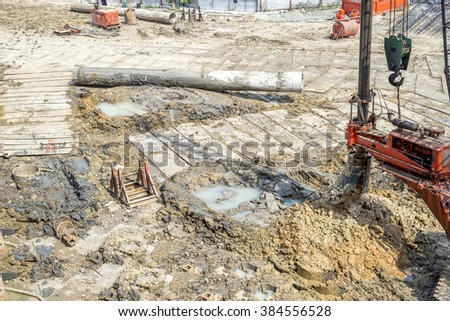construction site for a ground level of a tall building, construction site, construction site, construction site, construction site, construction site, construction site, construction site,  - stock photo