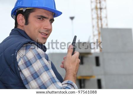 Construction site foreman - stock photo