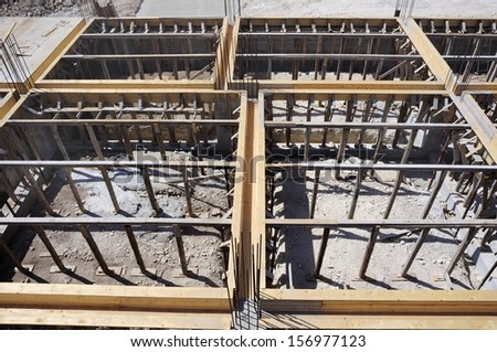 Construction site - formwork and framework support