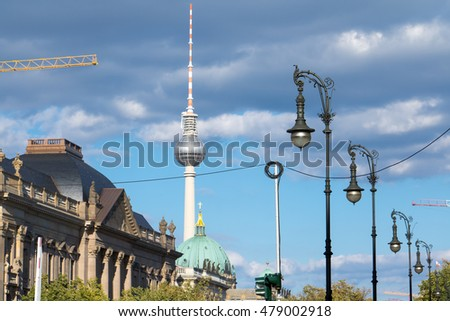 Construction Site in Berlin with the TV Tower and German Museum