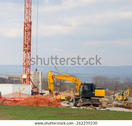 Construction site in early stage - stock photo