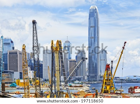 Construction site in Hong Kong , modern skylines as background - stock photo