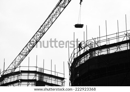 Construction site in Silhouette  - stock photo