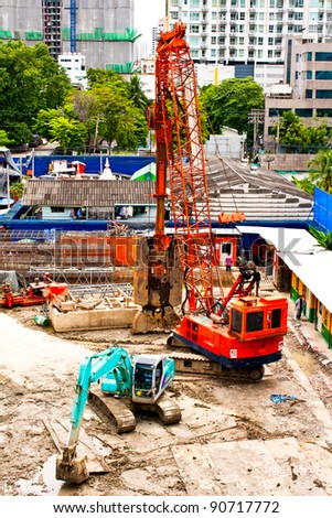 Construction site in the city present business growth - stock photo