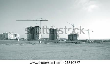 construction site - monochrome - stock photo