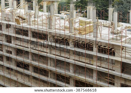construction site of a residential building from above - stock photo