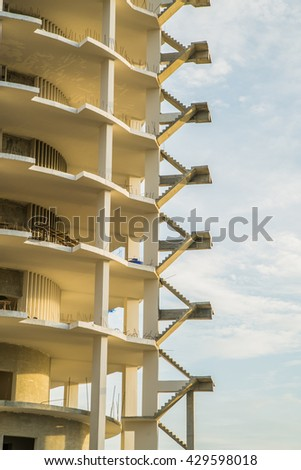 Construction site of building tower architecture. - stock photo