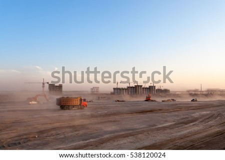 construction site of coal preparation factory at dusk