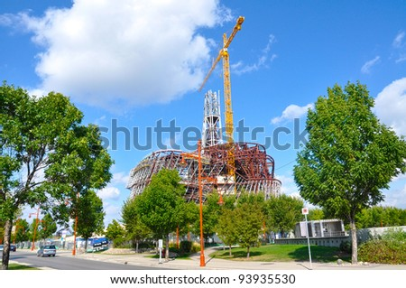 Construction site of the human rights museum at the Forks in downtown Winnipeg, Manitoba - stock photo