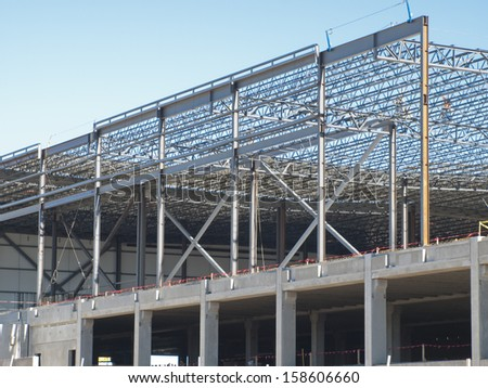 construction site of the new retail building steel frame construction