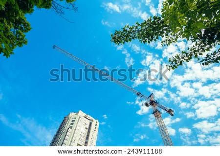 Construction site. Office building development. - stock photo
