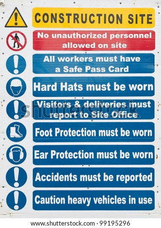 Construction site sign safety notices hanging stock photo for Interior health employee website