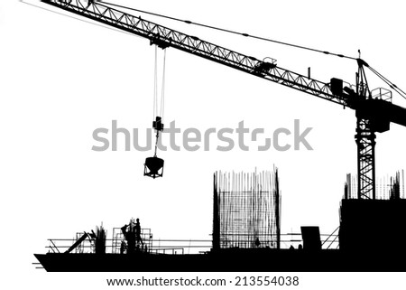 Construction site silhouette  - stock photo