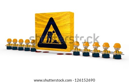 construction site symbol with cute 3d characters