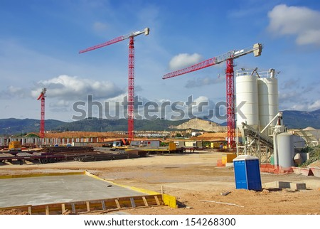 Construction site to build a new hospital in Majorca (Son Espases) - stock photo