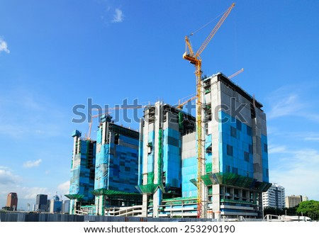 Construction Site Under the blue sky - stock photo