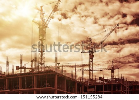 Construction site, warm filter was used - stock photo