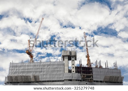 construction site with a beautiful sky background - stock photo