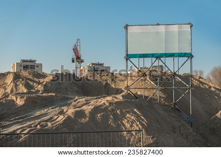 Construction site with copy space sign closeup - stock photo