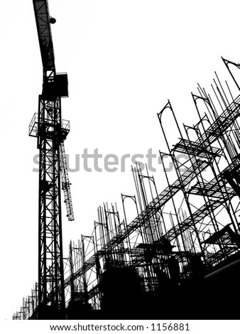 Construction Site with Crane and Scaffolding -- seen in outline form - stock photo