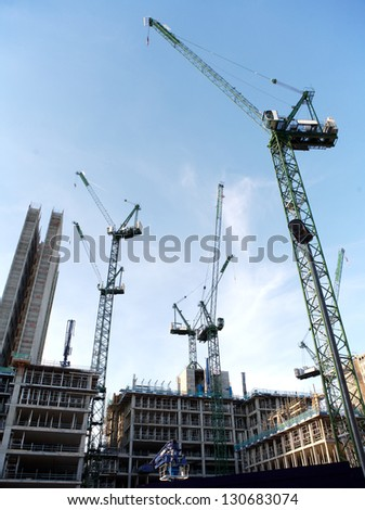 Construction Site With Cranes in the City - stock photo