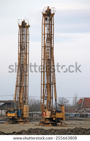 construction site with hydraulic drilling machines - stock photo