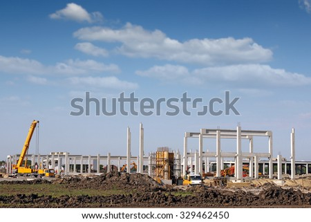 construction site with machinery - stock photo