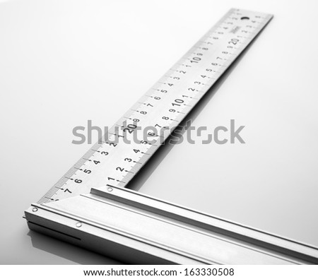 Construction square triangle on a white background. - stock photo
