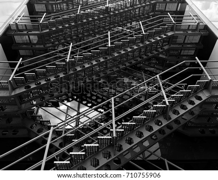 Construction Stairs Of Build Iron Stair On The Outside Abstract Black White